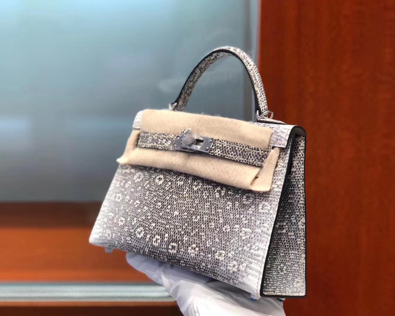 Stock Hermes Original Color Lizard Minikelly-2 Evening Clutch Bag Silver Hardware