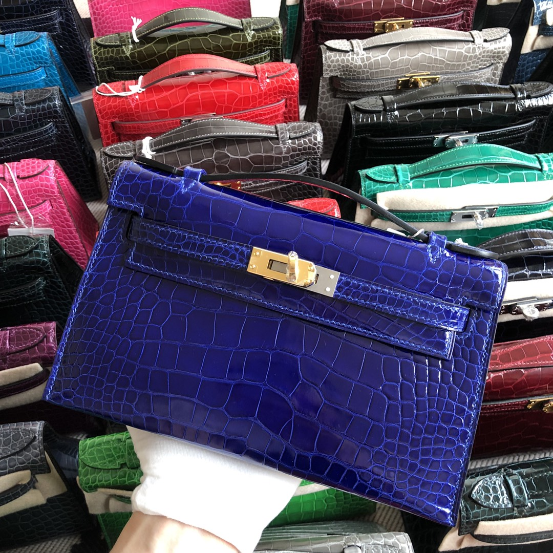 Stock Hermes 7T Blue Electric Alligator Crocodile Minikelly22cm Evening Bag Gold Hardware