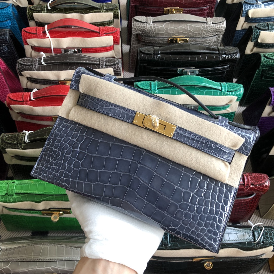 Stock Hermes 7N Blue Tampete Shiny Crocodile Minikelly Clutch Bag22CM Gold Hardware