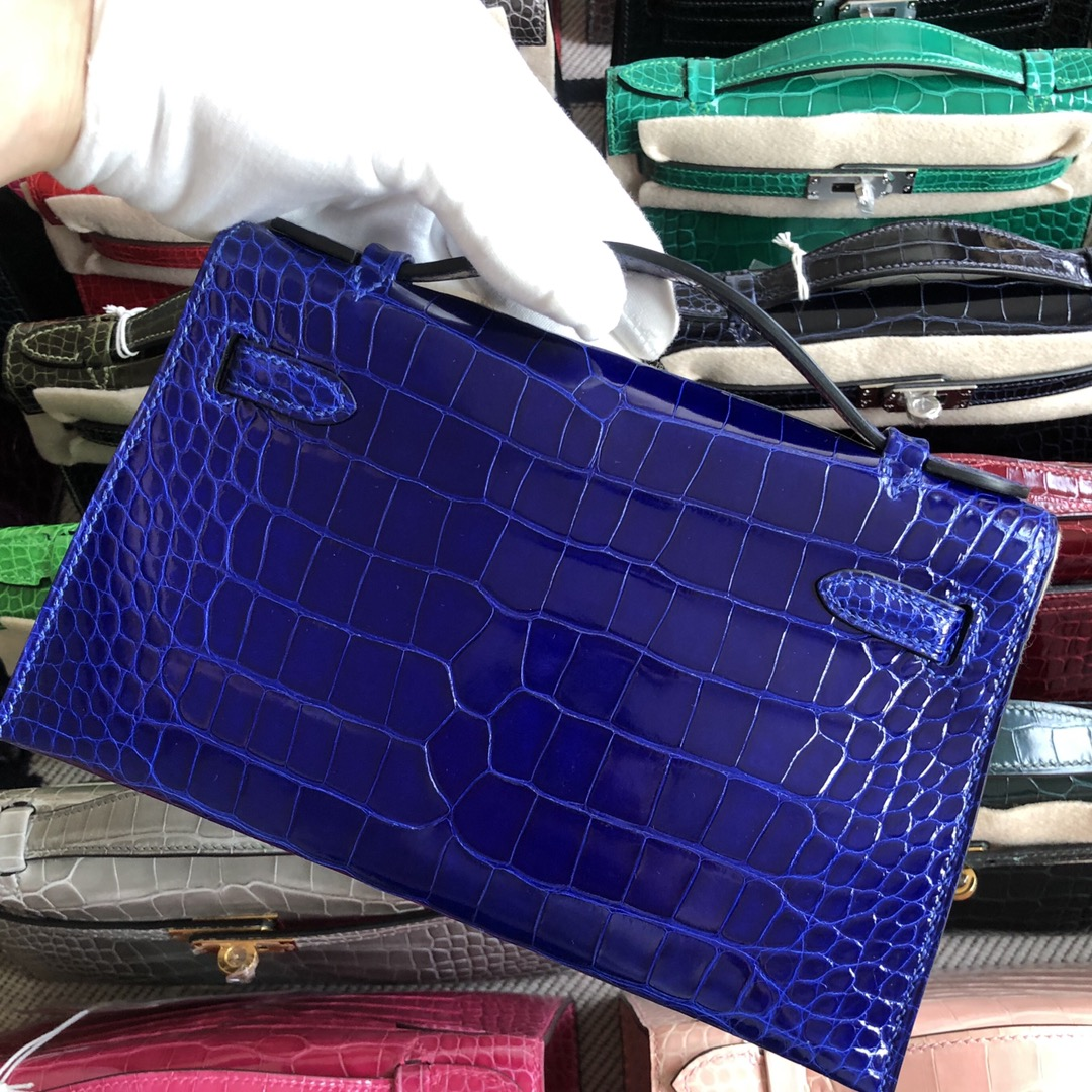Stock Hermes AlligatorCrocodile 7T Blue Electric Minikelly Bag Gold Hardware