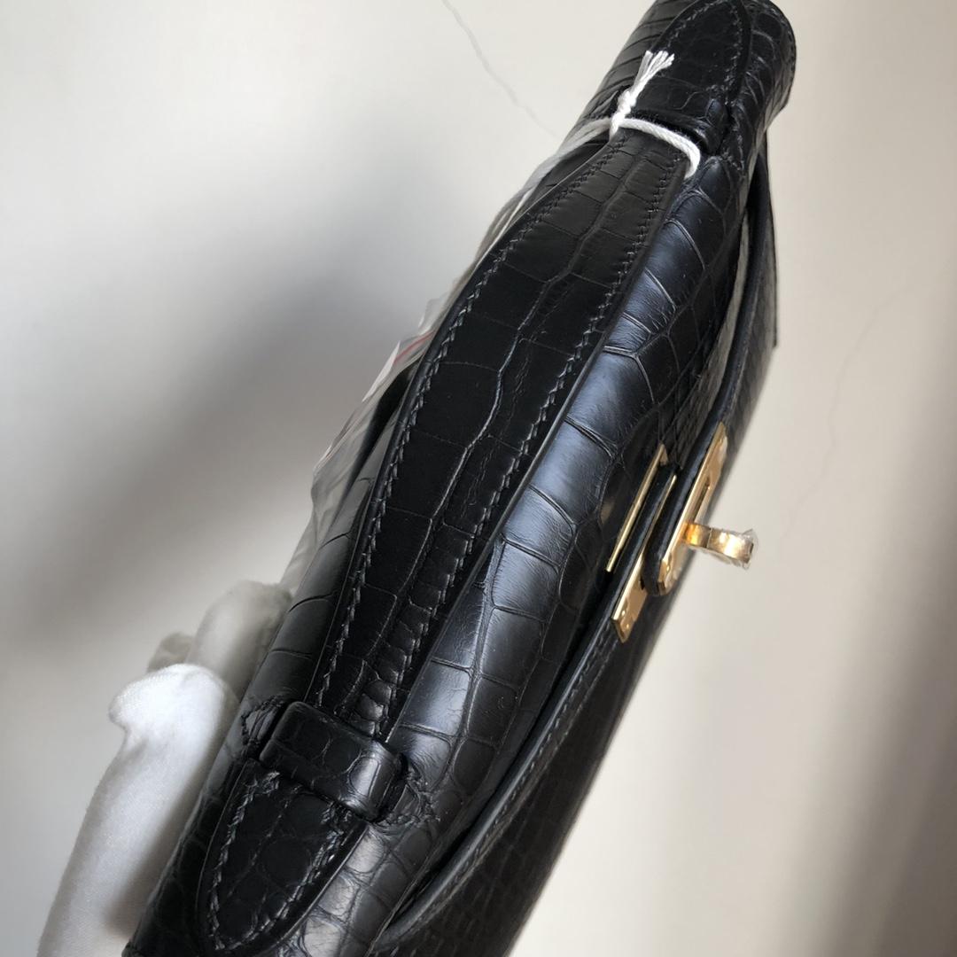 Stock Hermes MattCrocodile Minikelly22CM Clutch Bag CK89 Noir Gold Hardware