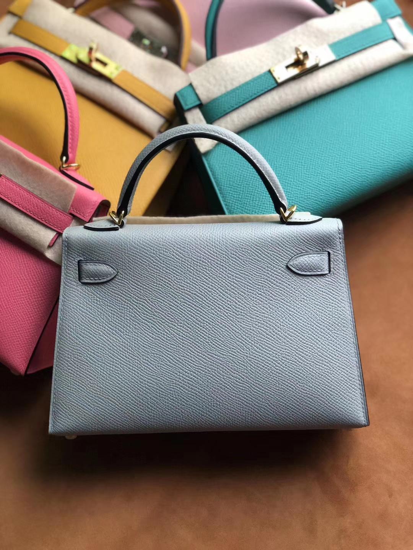 Stock Hermes 8U Blue Glacier Epsom Calf Minikelly-2 Clutch Bag Gold Hardware