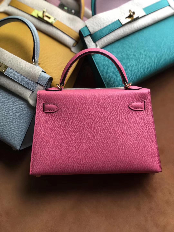 Stock Hermes Epsom Calf Minikelly-2 Evening Bag in 8WRose Azalee Gold Hardware