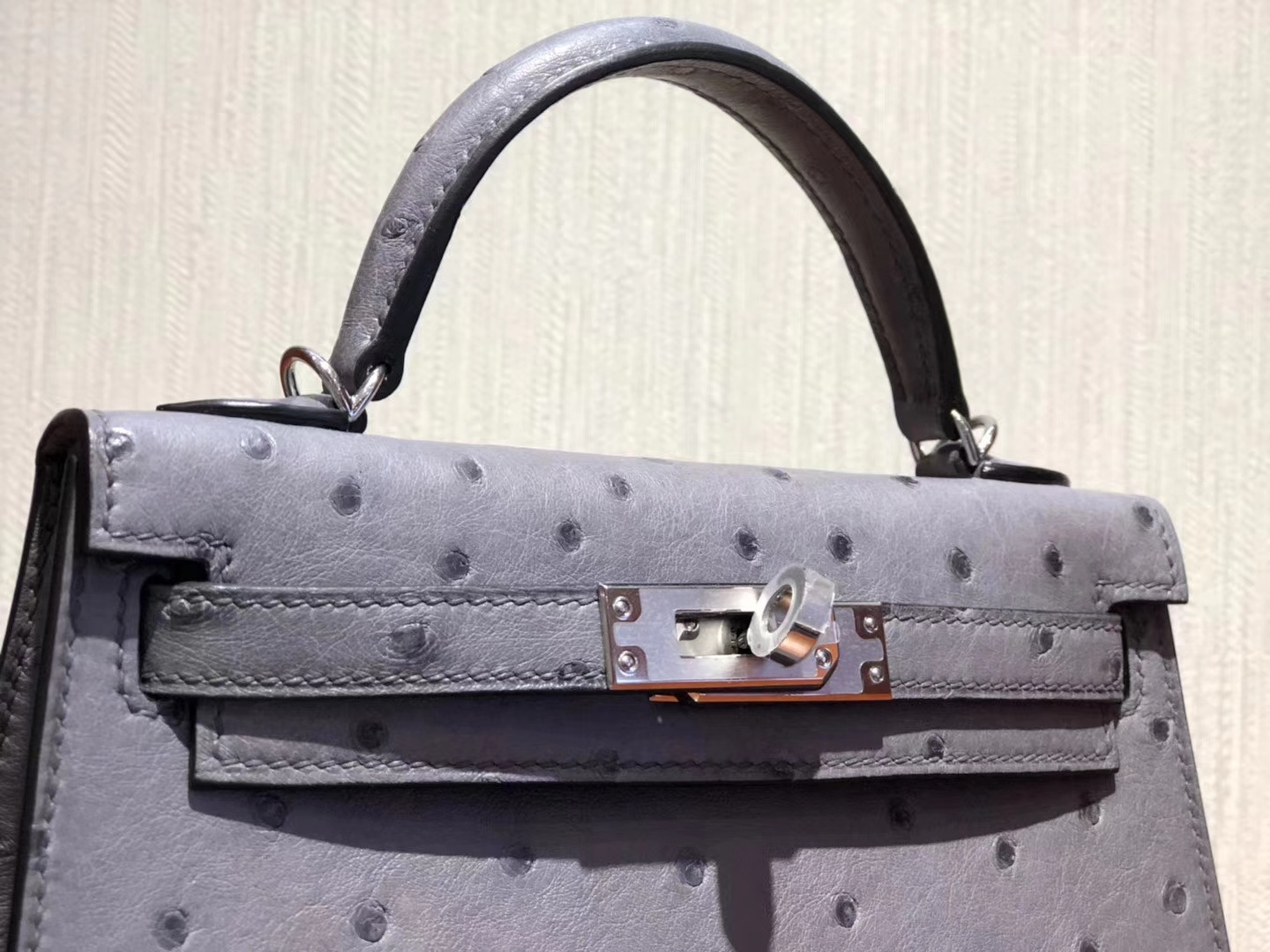 New Hermes Gris Agate KK Ostrich Minikelly-2 Clutch Bag Silver Hardware