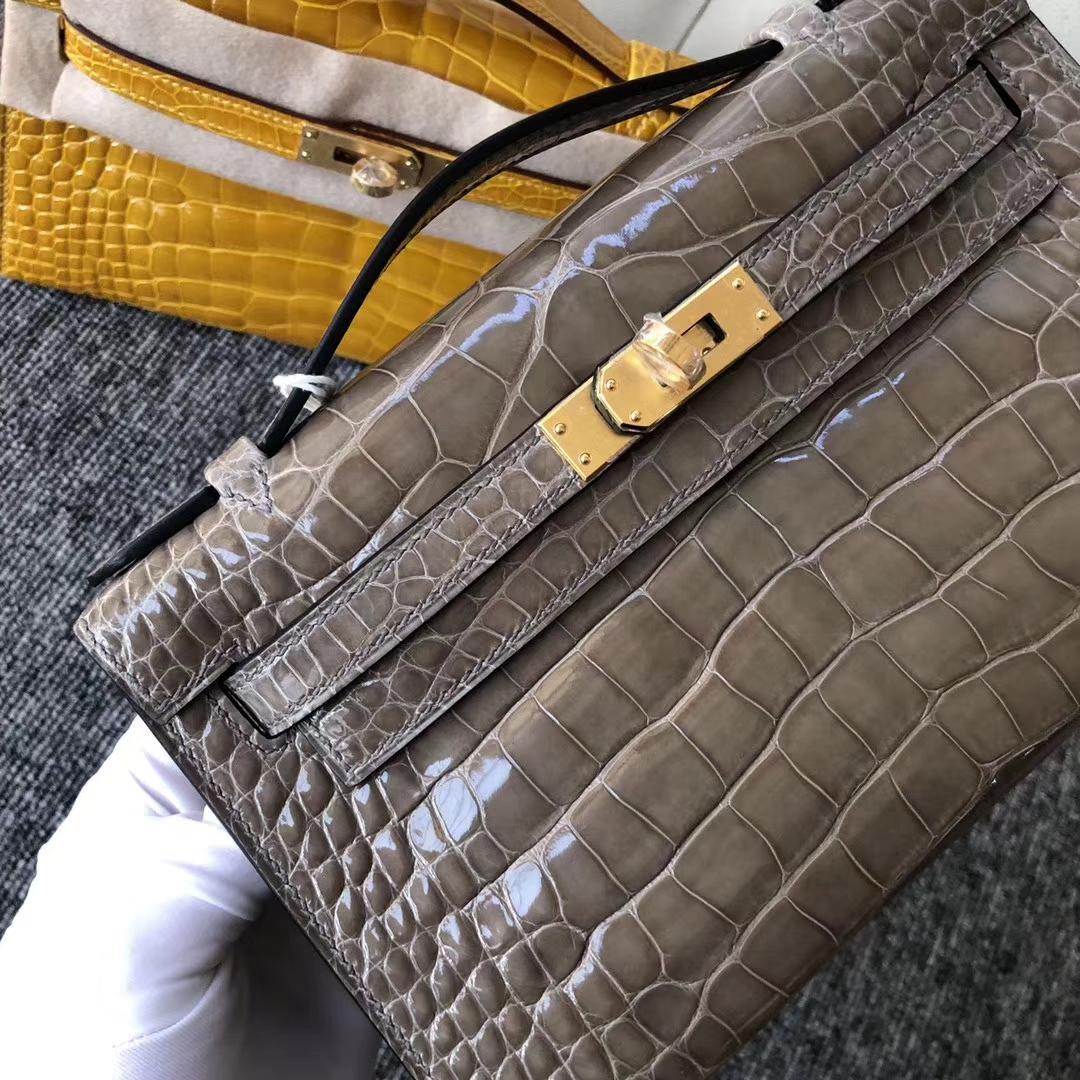 Fashion Hermes CK81 Gris T Shiny Crocodile Minikelly22CM Clutch Bag Gold Hardware