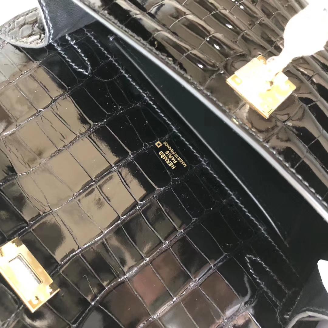 Noble Hermes CK89 Noir Shiny Crocodile Minikelly Pochette22CM Gold Hardware