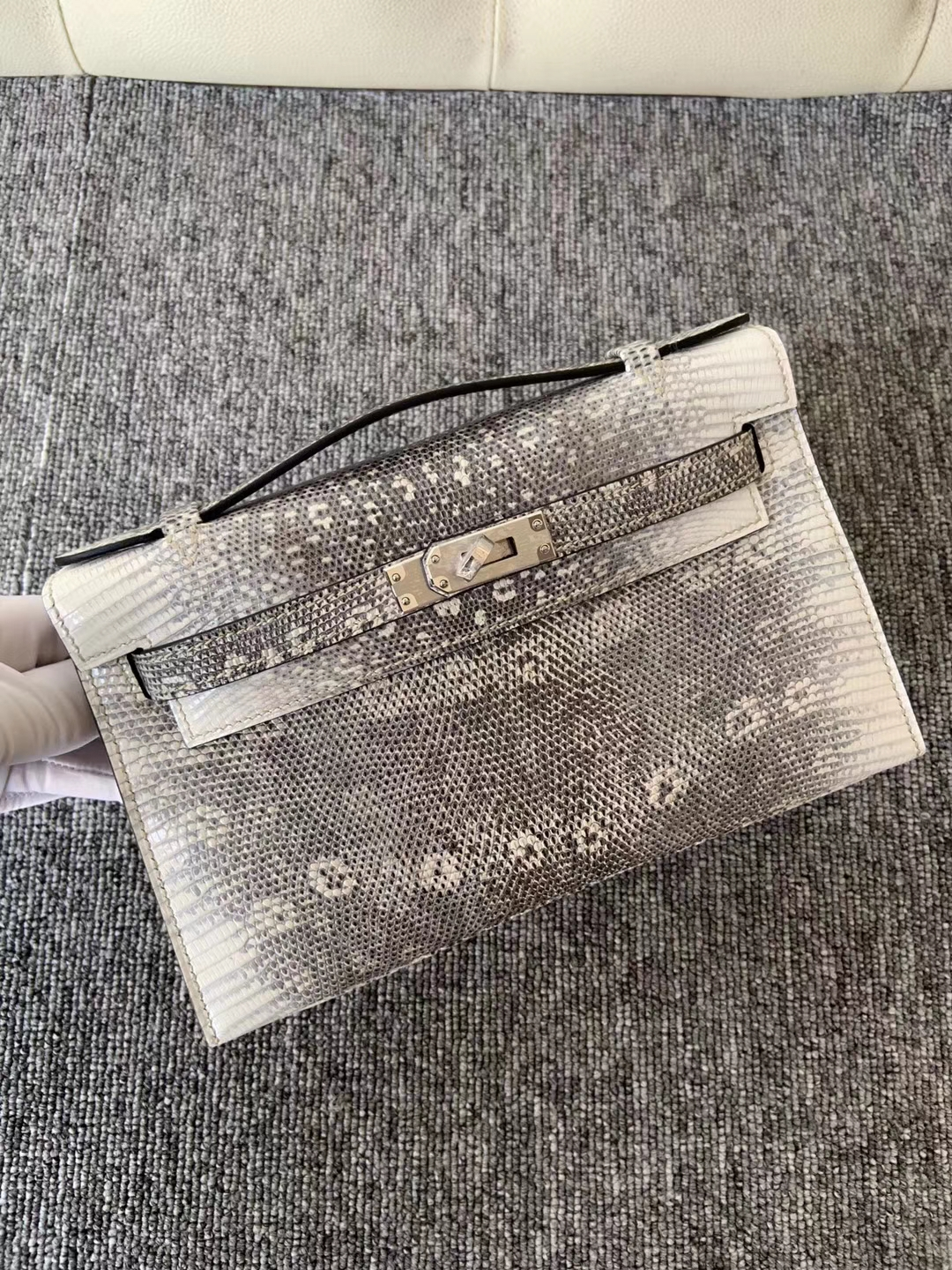 Customize Hermes Himalaya Lizard Leather Minikelly Clutch Bag22CM Silver Hardware