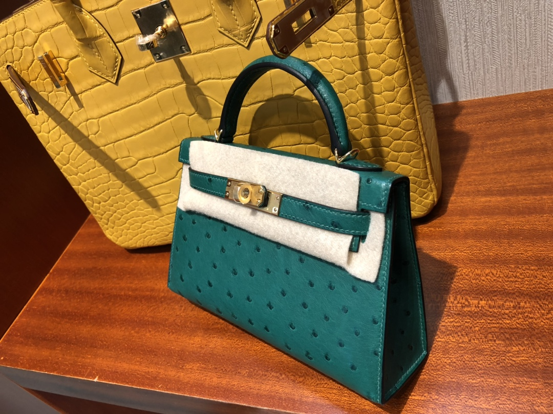 Customize Hermes Vert Malachite KK Ostrich Minikelly-2 Clutch Bag Gold Hardware