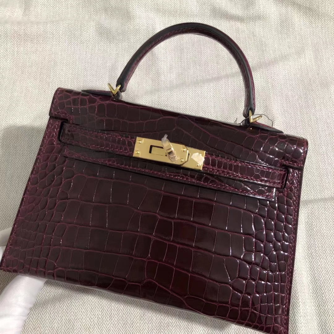 Elegant Hermes CK57 Bordeaux Shiny Crocodile Minikelly-2 Clutch Bag Gold Hardware