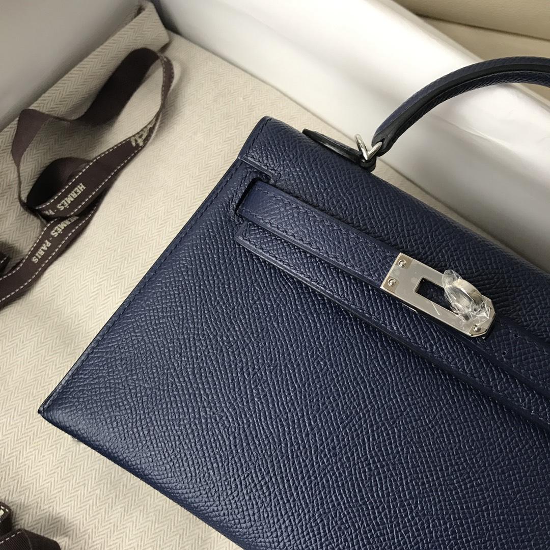 Stock Hermes 73 Blue Saphir Epsom Calf Minikelly-2 Evening Bag Silver Hardware