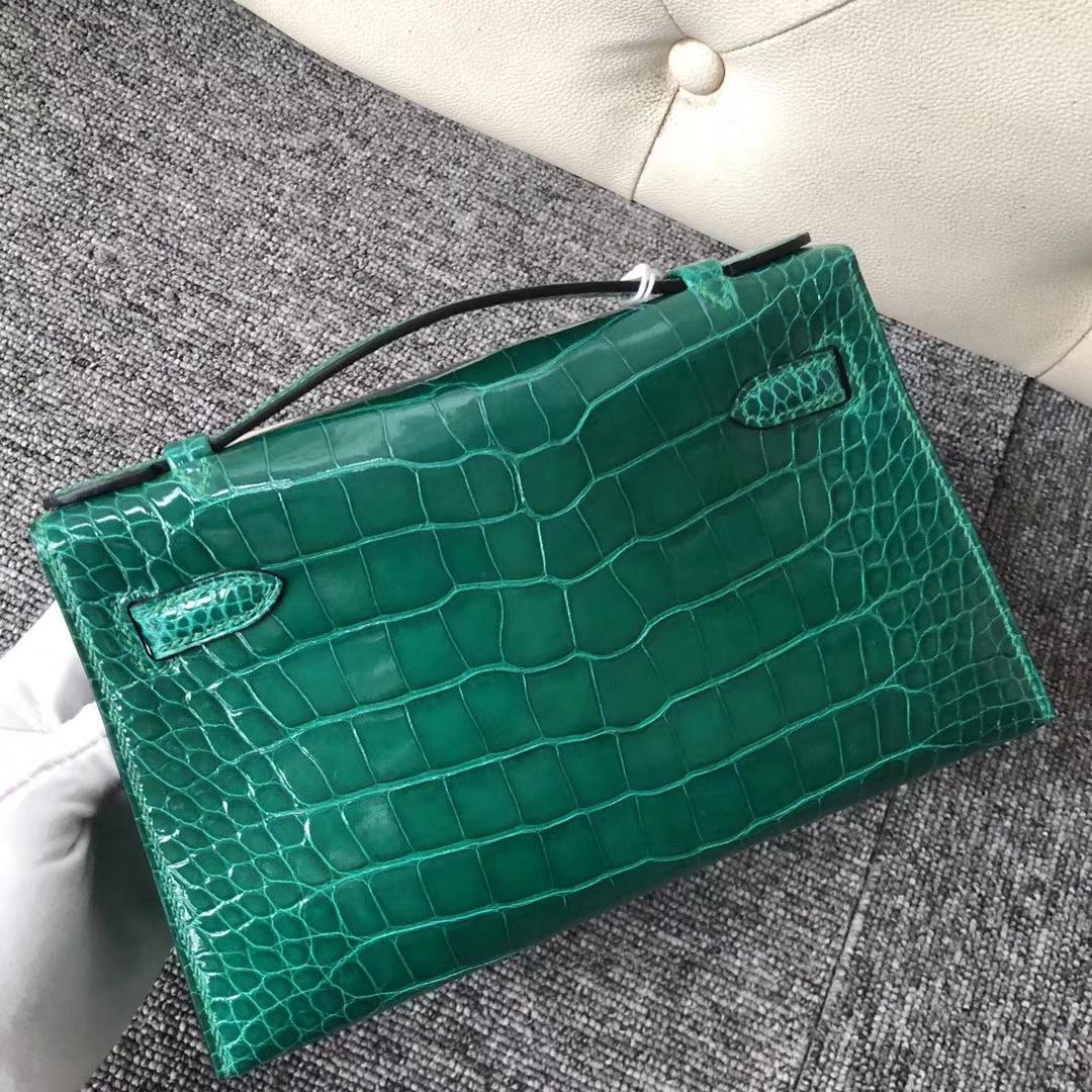 Customize Hermes 6Q Vert Emeral Shiny Crocodile Minikelly Clutch Bag Gold Hardware