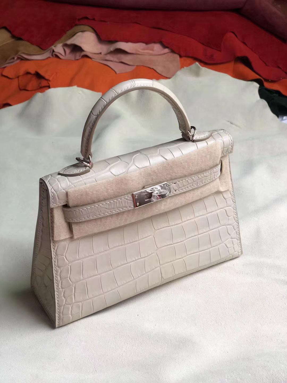 Customize Hermes CK80 Gris Pearl Matt Crocodile Minikelly-2 Clutch Bag