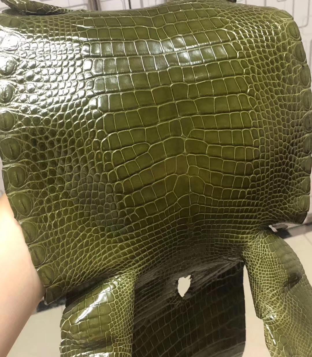 Hermes Constance/Minikelly Bag Customization 6H Vert Olive Shiny CrocodileLeather