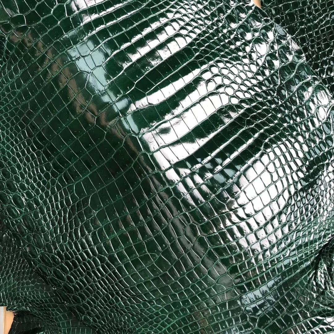 New Hermes CK67 Vert Fonce Shiny Porosus CrocodileLeather Can Order Birkin 25CM