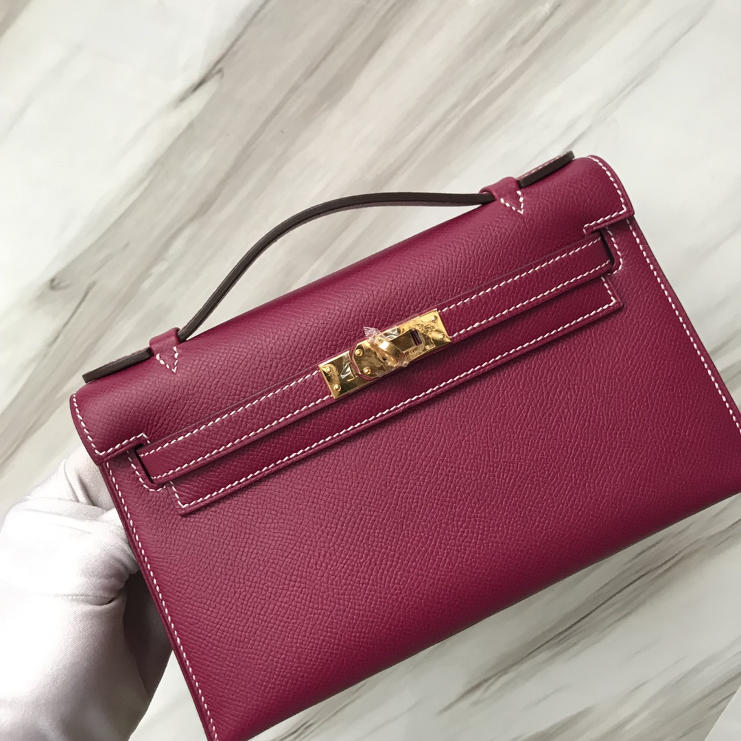 Stock Hermes K5 Tosca Purple Epsom Calf Minikelly Clutch Bag Gold Hardware