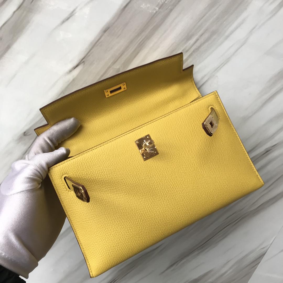 Stock Hermes Epsom Calf Minikelly Evening Bag in 9O Jaune De Naples Gold Hardware