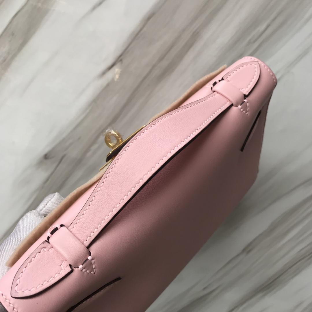 Stock Hermes 3Q Rose Barbie Epsom Calf Minikelly22CM Clutch Bag Gold Hardware