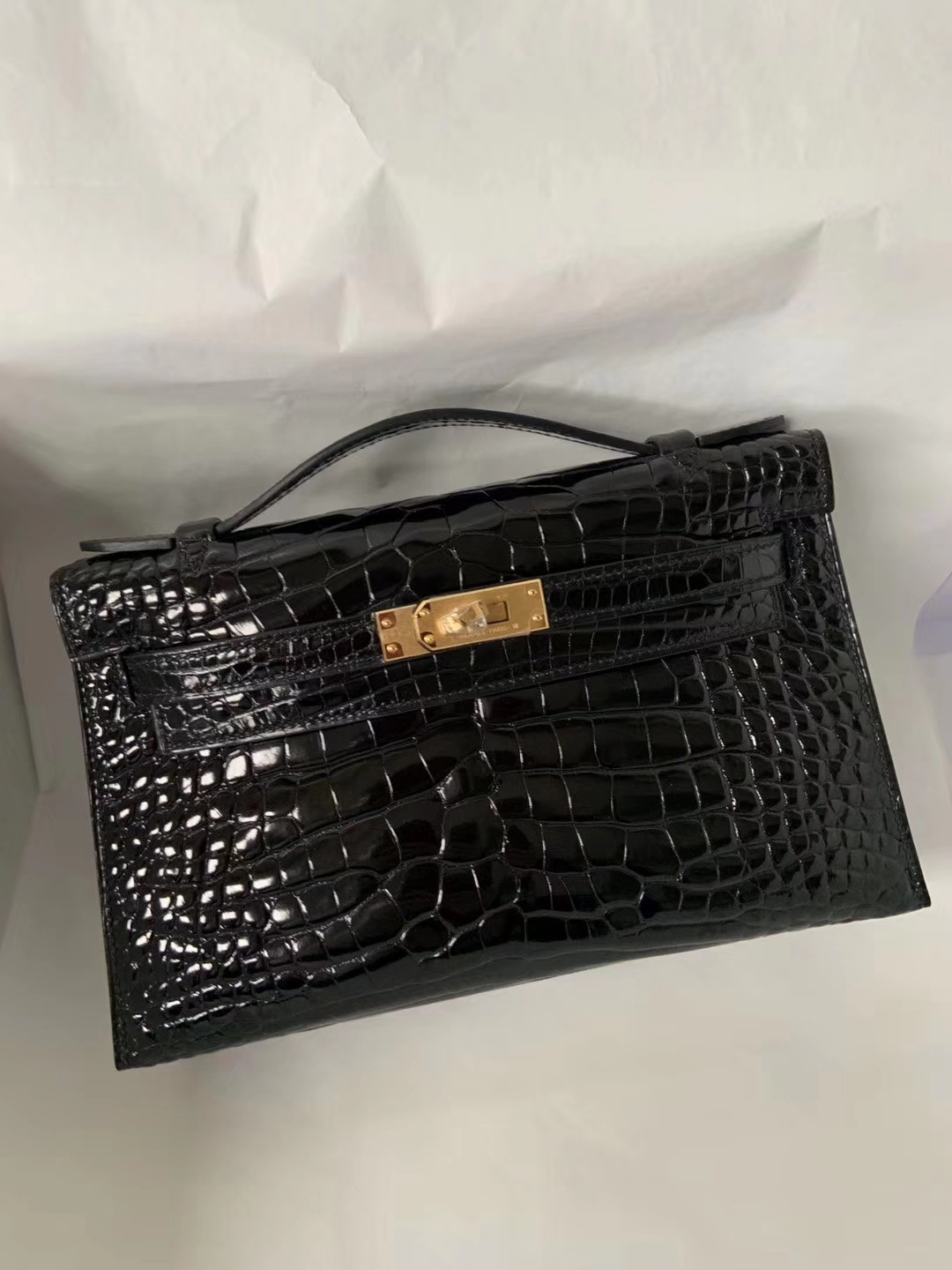 Stock Hermes Shiny Crocodile Minikelly Pochette 22CM CK89 Noir Gold Hardware