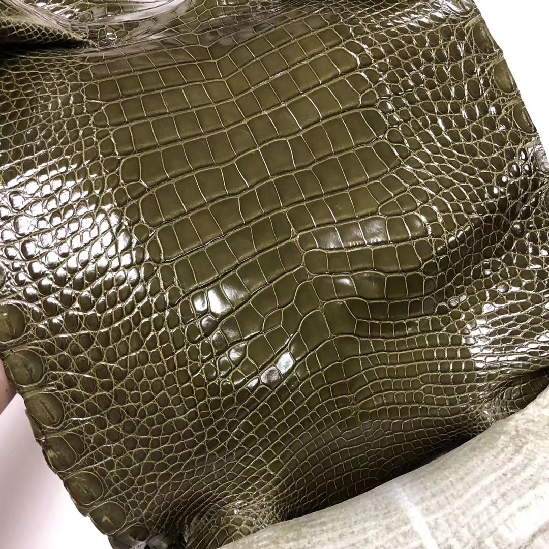 Hermes Bag Customization 6H Vert Olive Alligator Shiny Crocodile Leather
