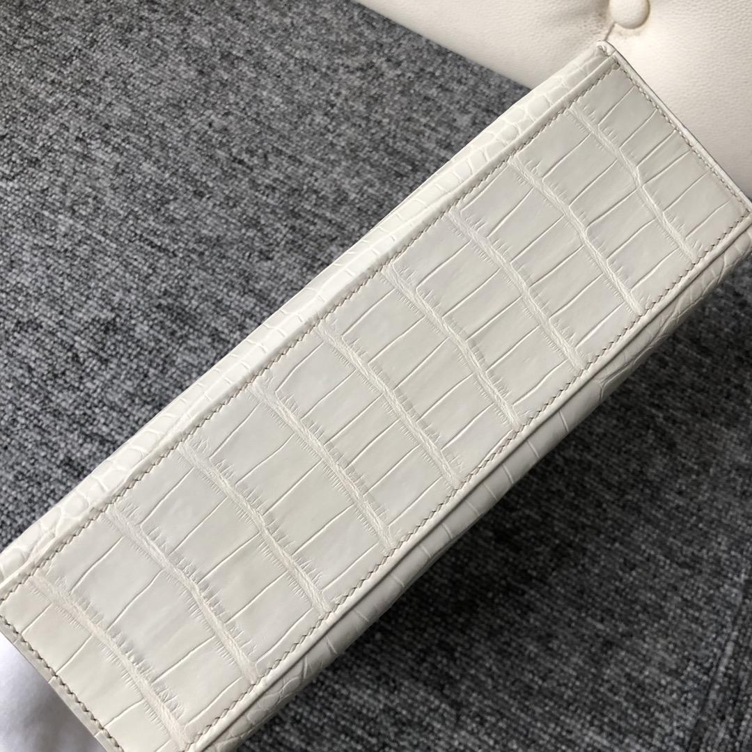Wholesale Hermes 8L Beton White Alligator Crocodile Minikelly22cm Clutch Bag