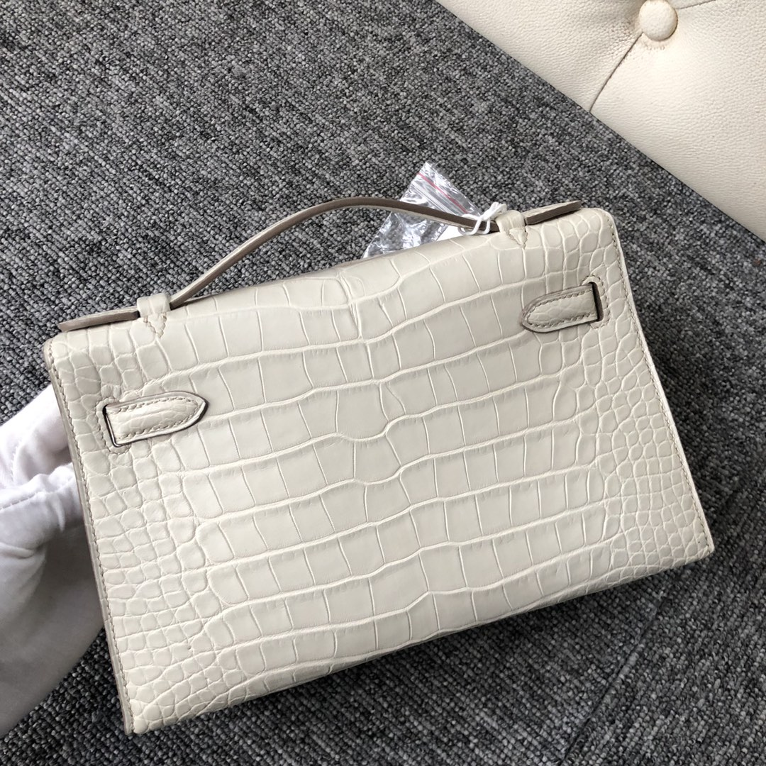 Wholesale Hermes 8L Beton White Alligator Crocodile Minikelly22cm Clutch Bag