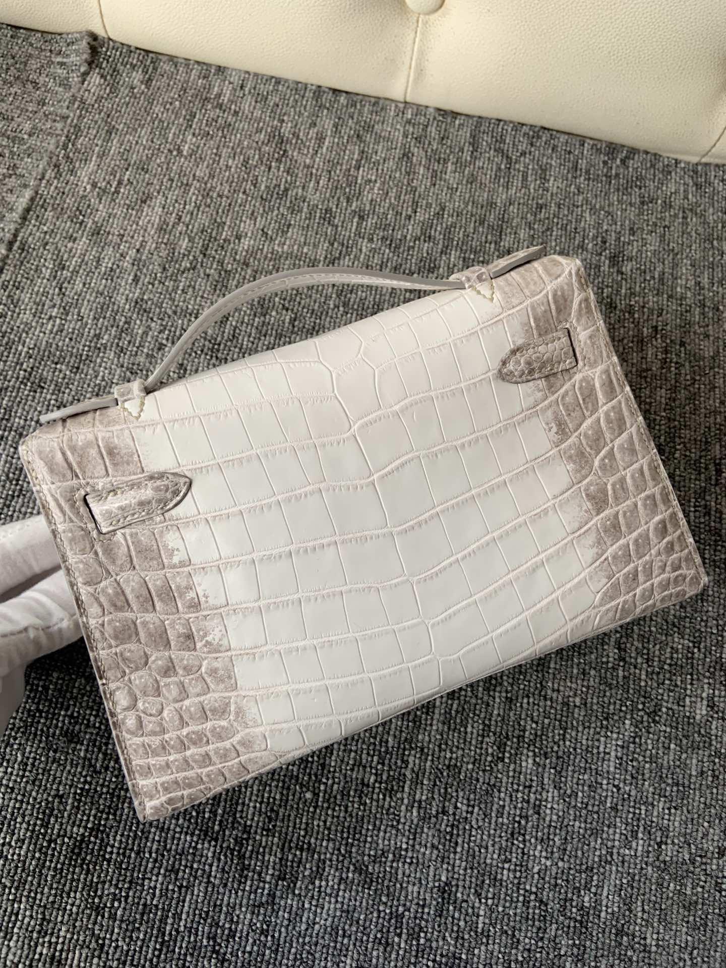 Customize Hermes Himalaya Crocodile Leather Minikelly Pochette 22CM Silver Hardware