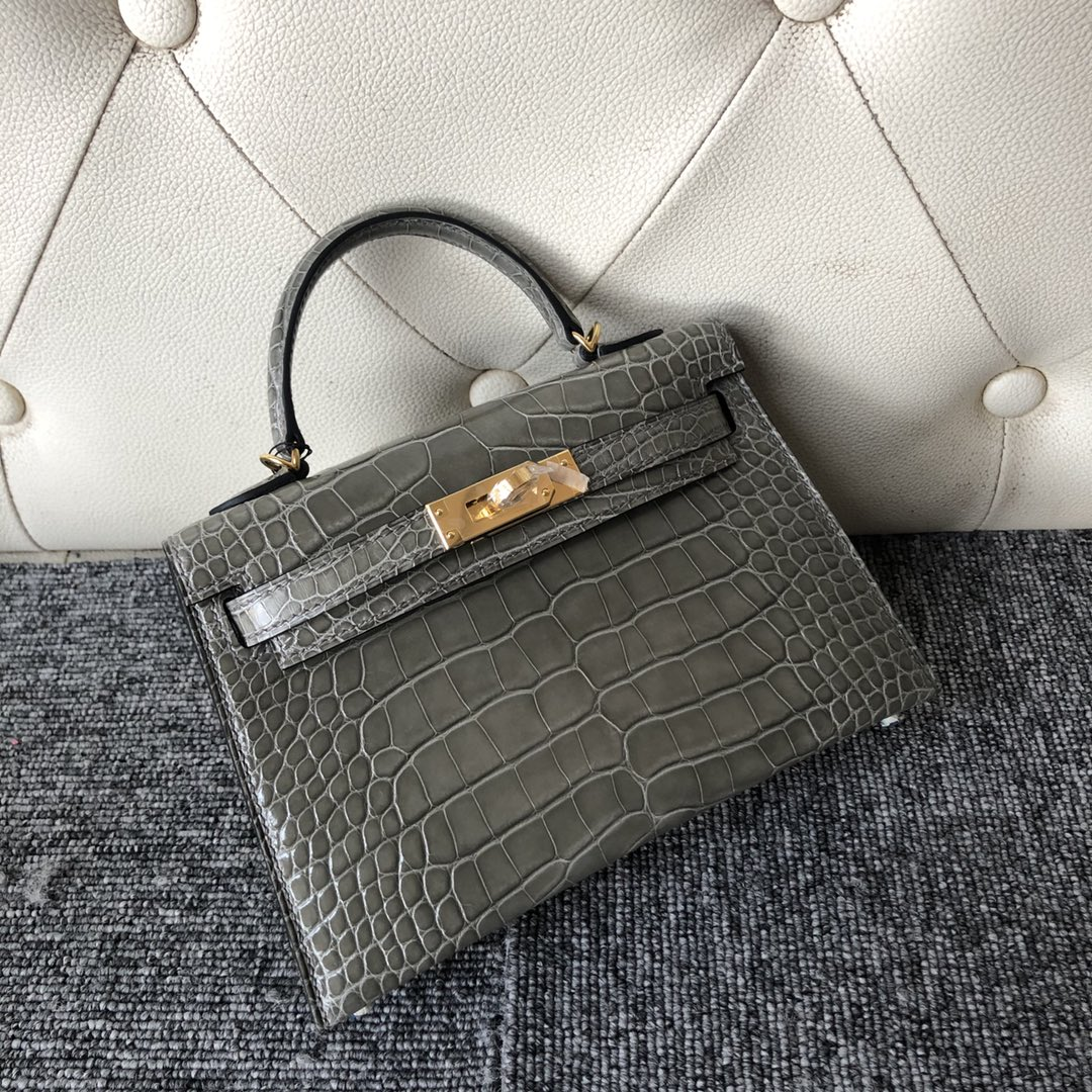 Fashion Hermes Shiny Crocodile Minikelly-2 Clutch Bag in CK81 Gris T Gold Hardware
