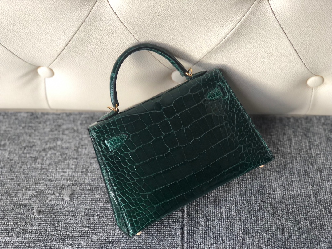 Stock Hermes Shiny Crocodile CK67 Vert Fonce Minikelly-2 Bag Gold Hardware