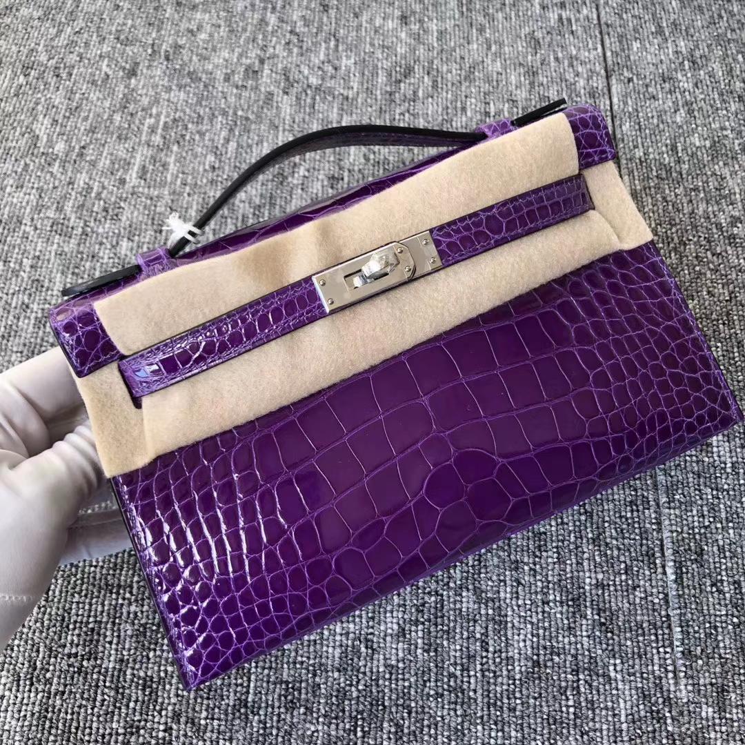 Stock Hermes Shiny Crocodile Minikelly22cm Clutch Bag Ultraviolet Silver Hardware