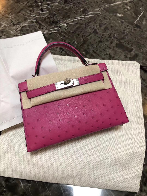 Stock Hermes L3 Rose Purple KK Ostrich Minikelly-2 Evening Bag19cm Silver Hardware