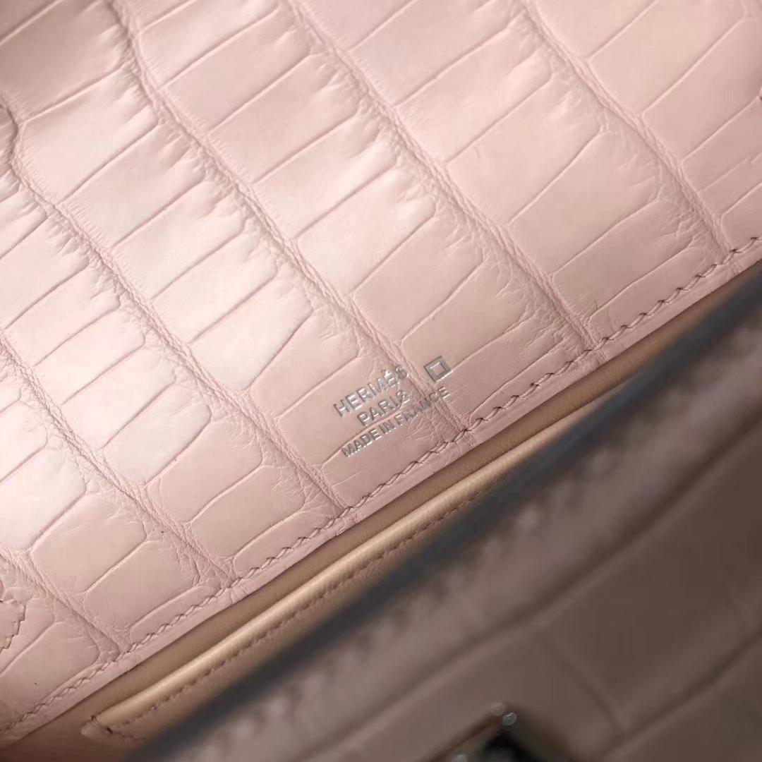 Customize Hermes 3Q Pink Matte Crocodile Minikelly Clutch Bag22cm Silver Hardware