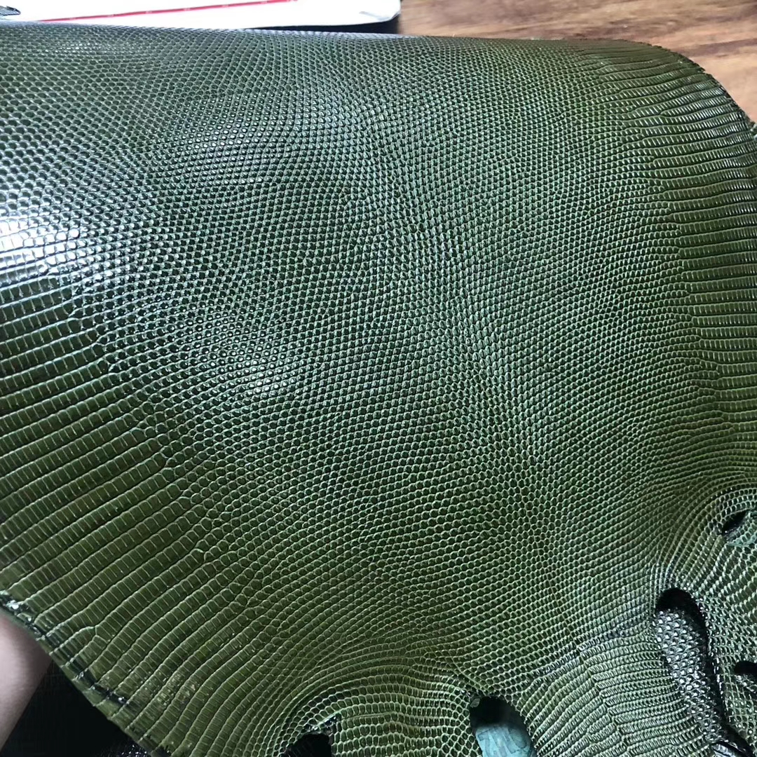 Customize Hermes Constance Bag/Kelly Bag 6H Vert Olive Shiny Lizard Leather