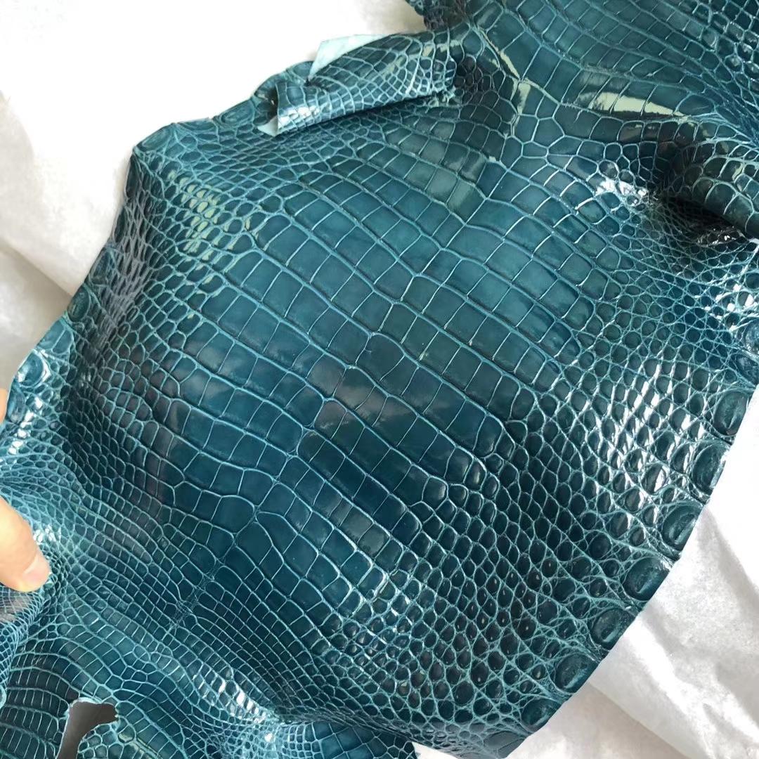 New Arrival Hermes 1P Blue Colvert Shiny Alligator CrocodileLeather Constance Bag Order