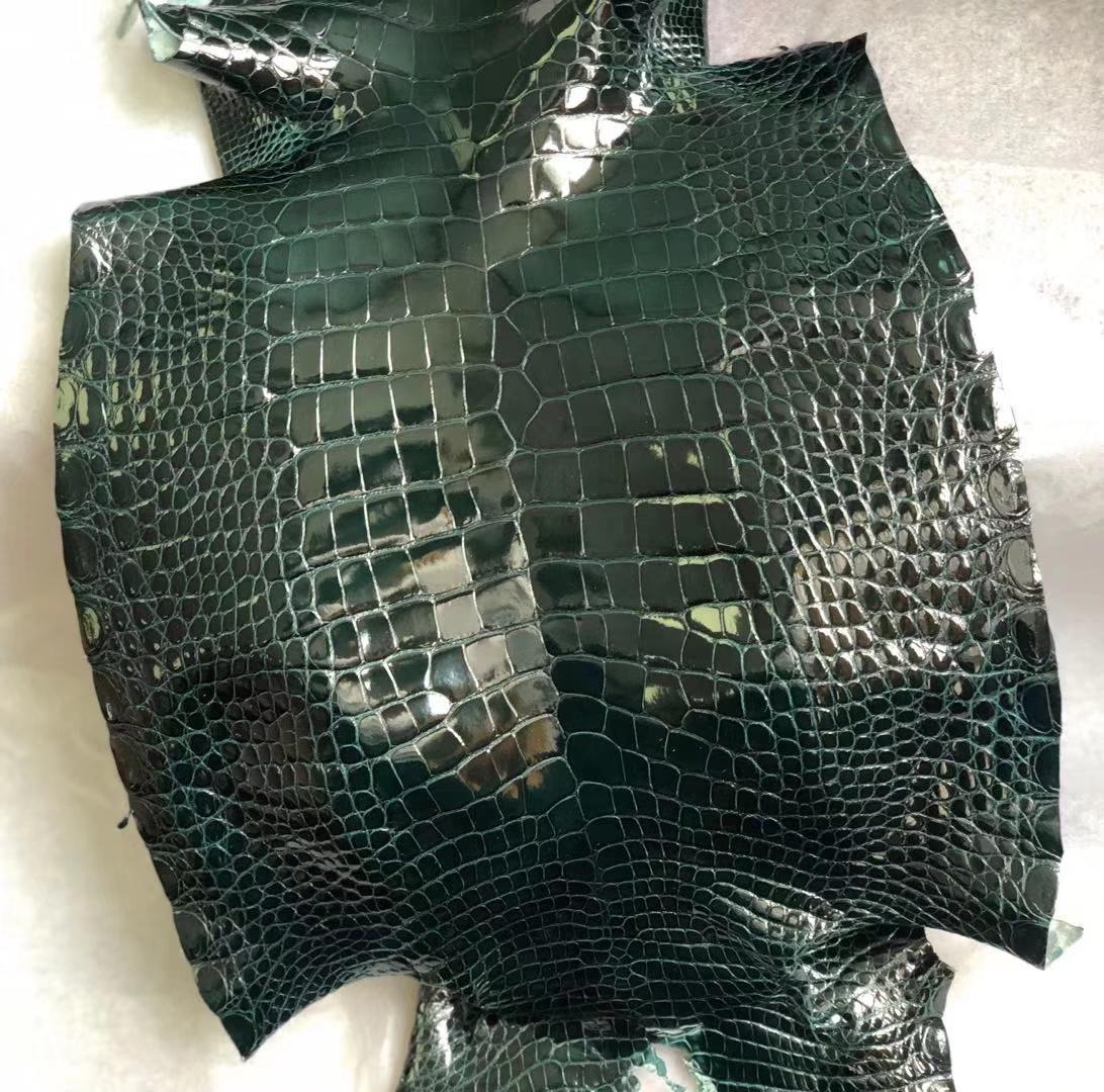 Customize Hermes Minikelly Bags New 6O Vert Cypress Shiny Alligator CrocodileLeather