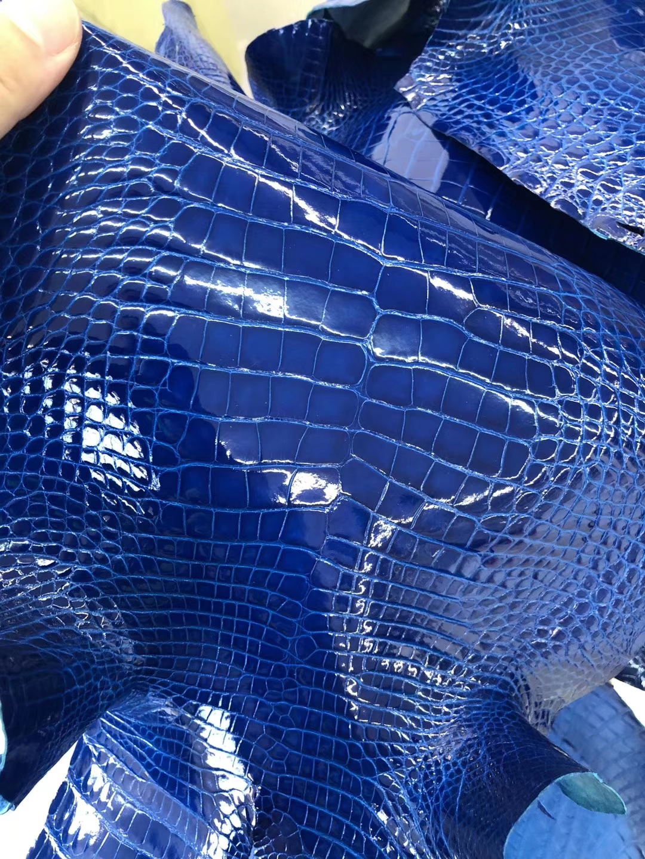 New Hermes 7Q Blue Mykonos Shiny Alligator Crocodile Leather Constance/Minikelly Customize