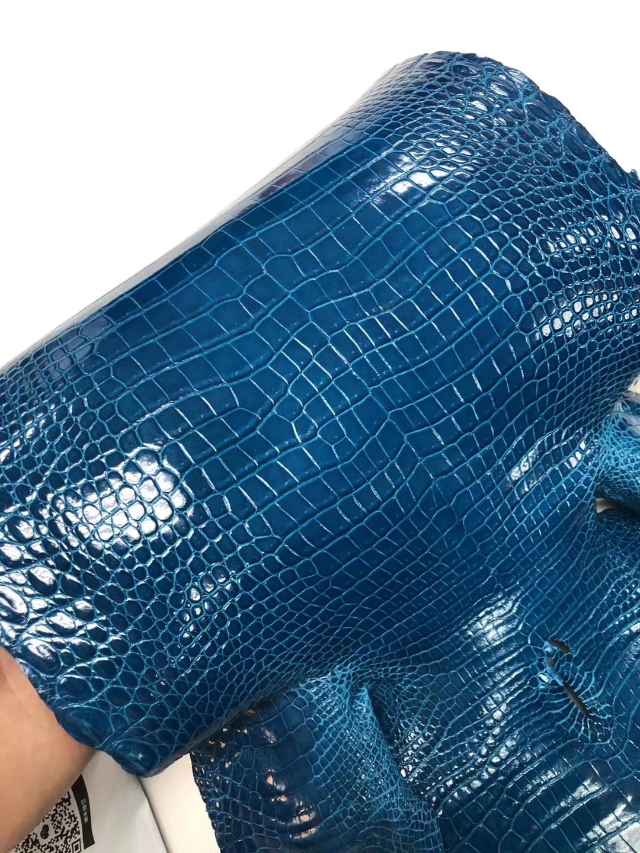 Hermes Kelly/Birkin Bags Customize 7W Blue Izmir Porosus Shiny Crocodile Leather