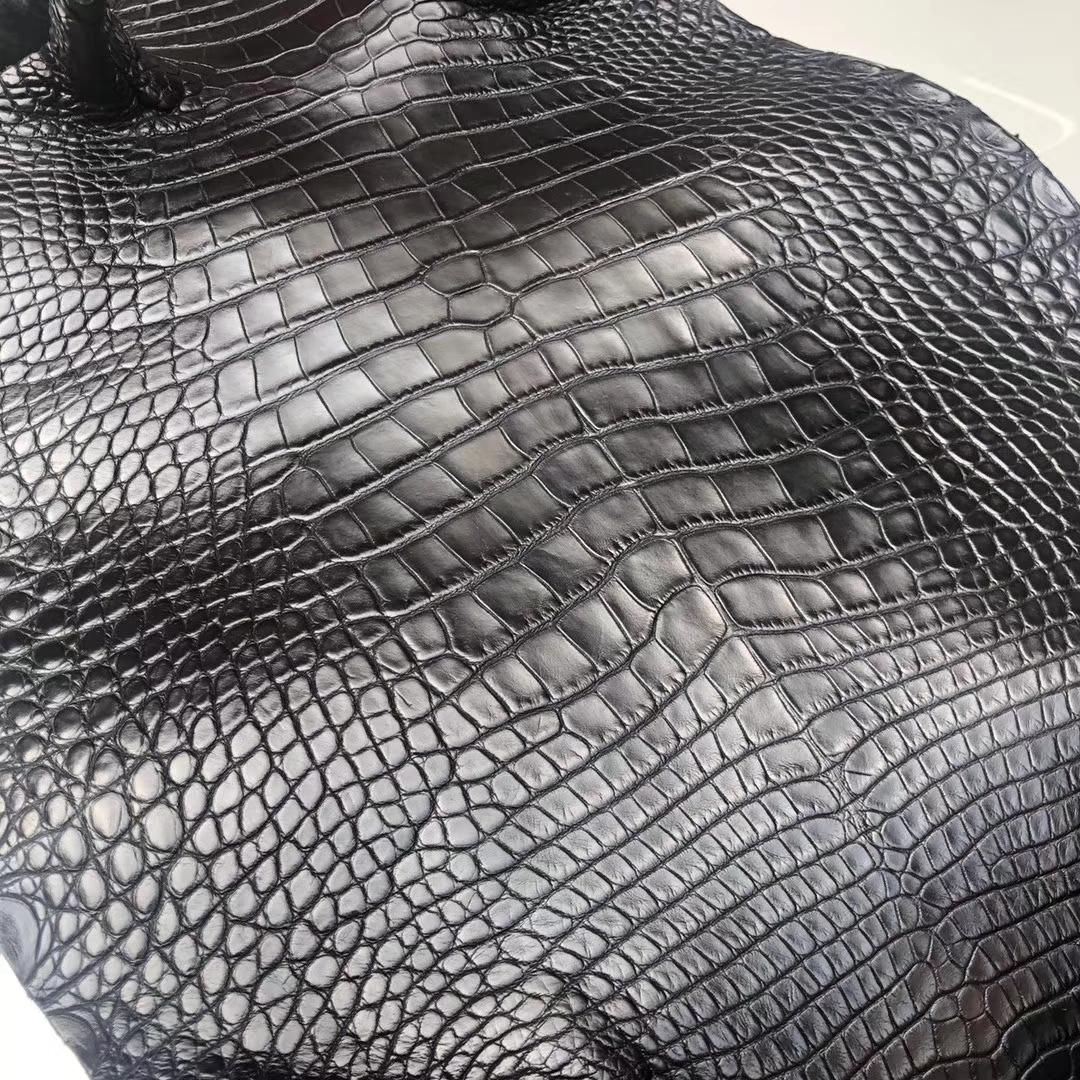 New Hermes CK89 Noir Alligator Matt Crocodile Leather Birkin/Kelly Bags Customize