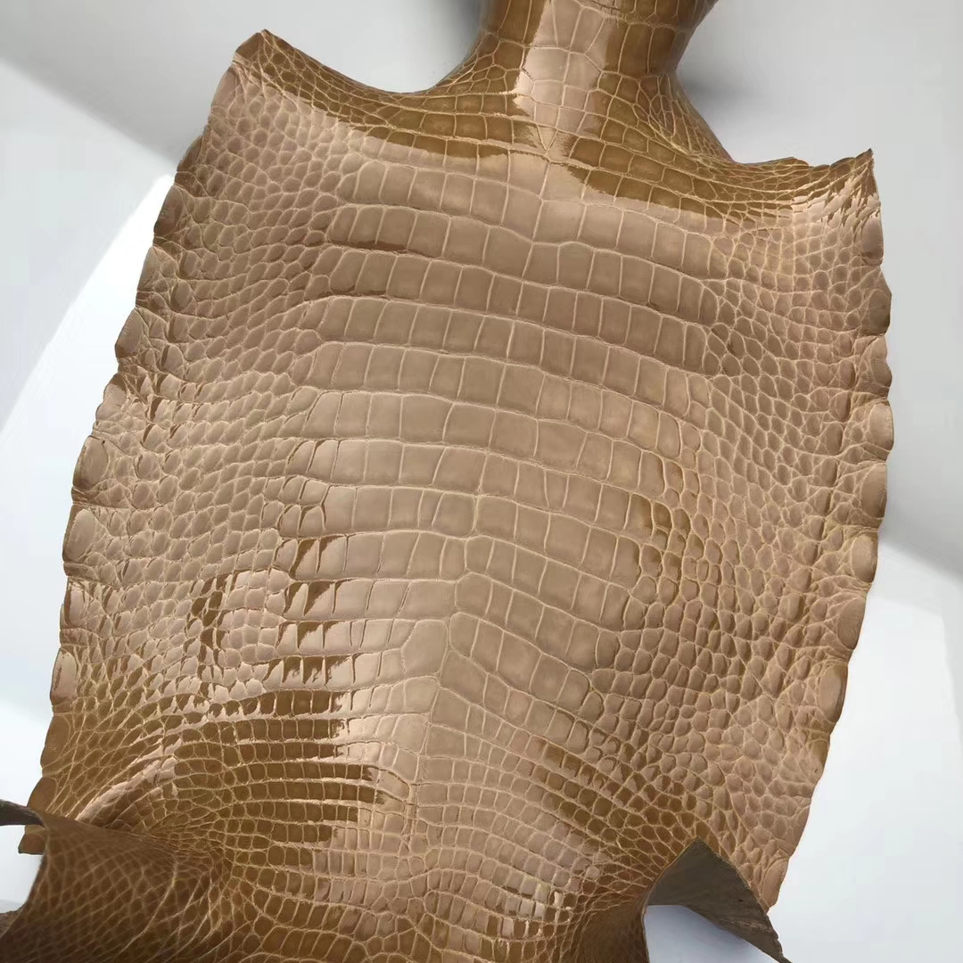 New Arrival Hermes 1C Apricot Alligator Shiny Crocodile Leather Constance Bags Customize