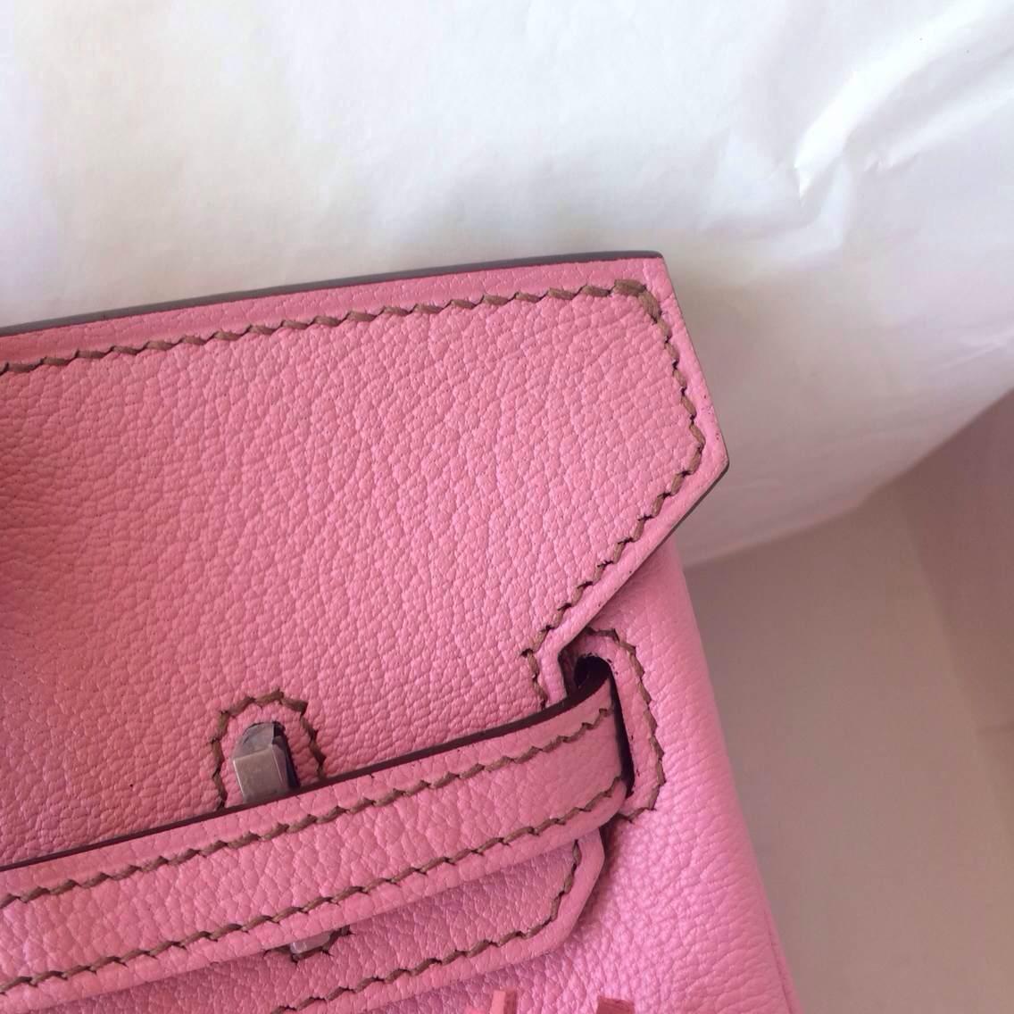 Hand Stitching Hermes Birkin Bag 25cm 5P Pink France Chevre leather