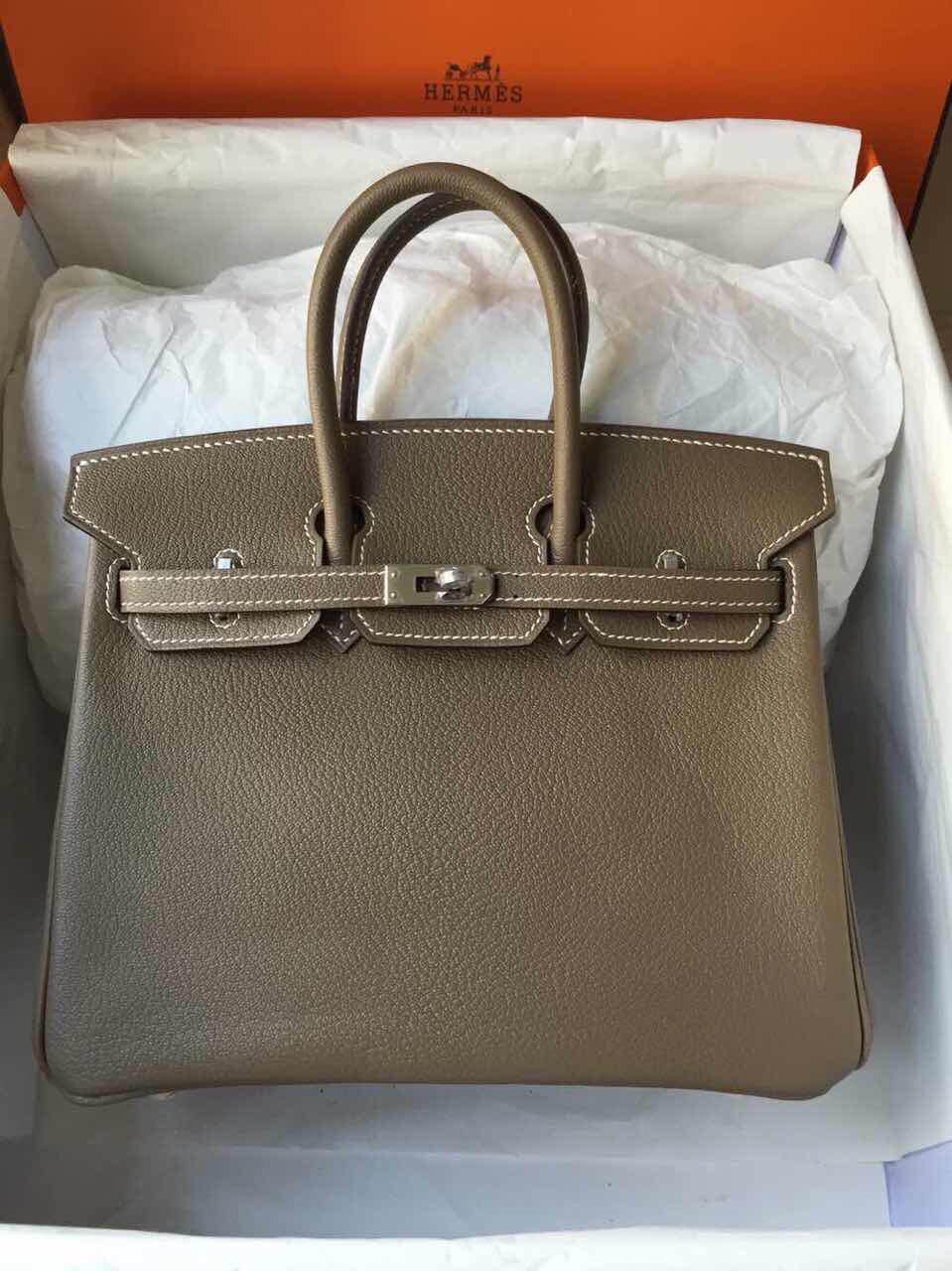 Wholesale Etoupe Grey Chevre Leather Hermes Birkin Bag Women's Tote Bag 25cm