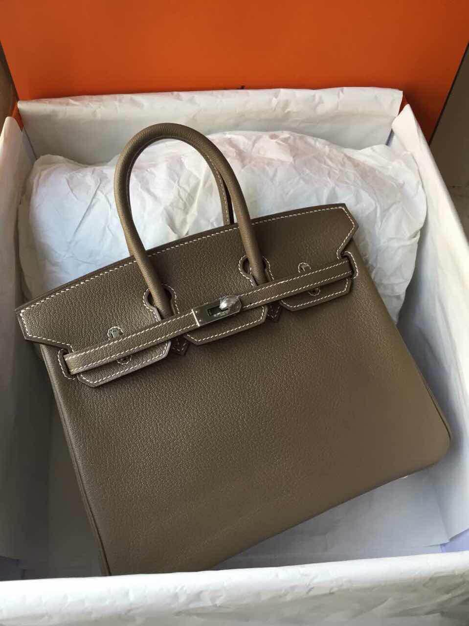 Wholesale Etoupe Grey Chevre Leather Hermes Birkin Bag Women's Tote Bag 25cm