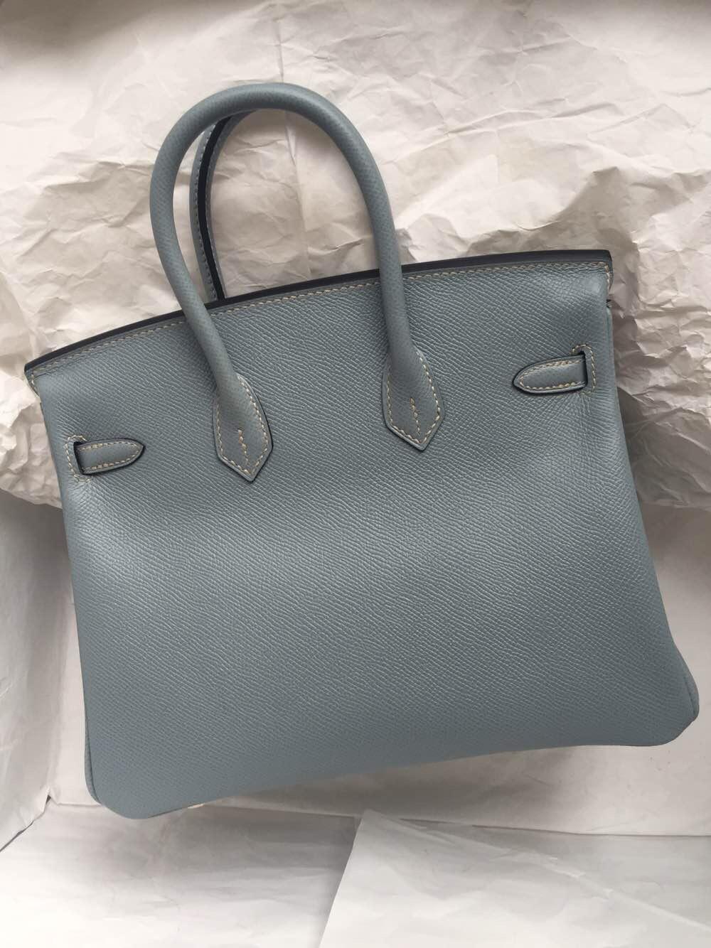 Sale Hermes Birkin25cm J7 Blue Lin Epsom Leather Women's Tote Bag