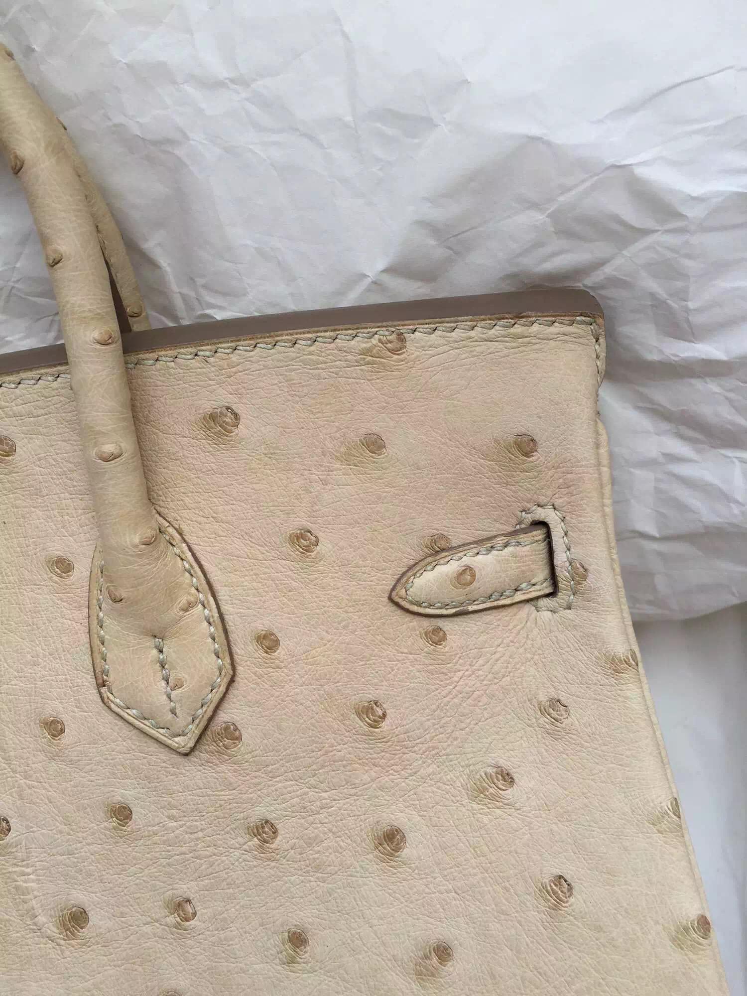 Sale 1F Beige Color Ostrich Leather Hermes Birkin Bag 25CM Women's Handbag