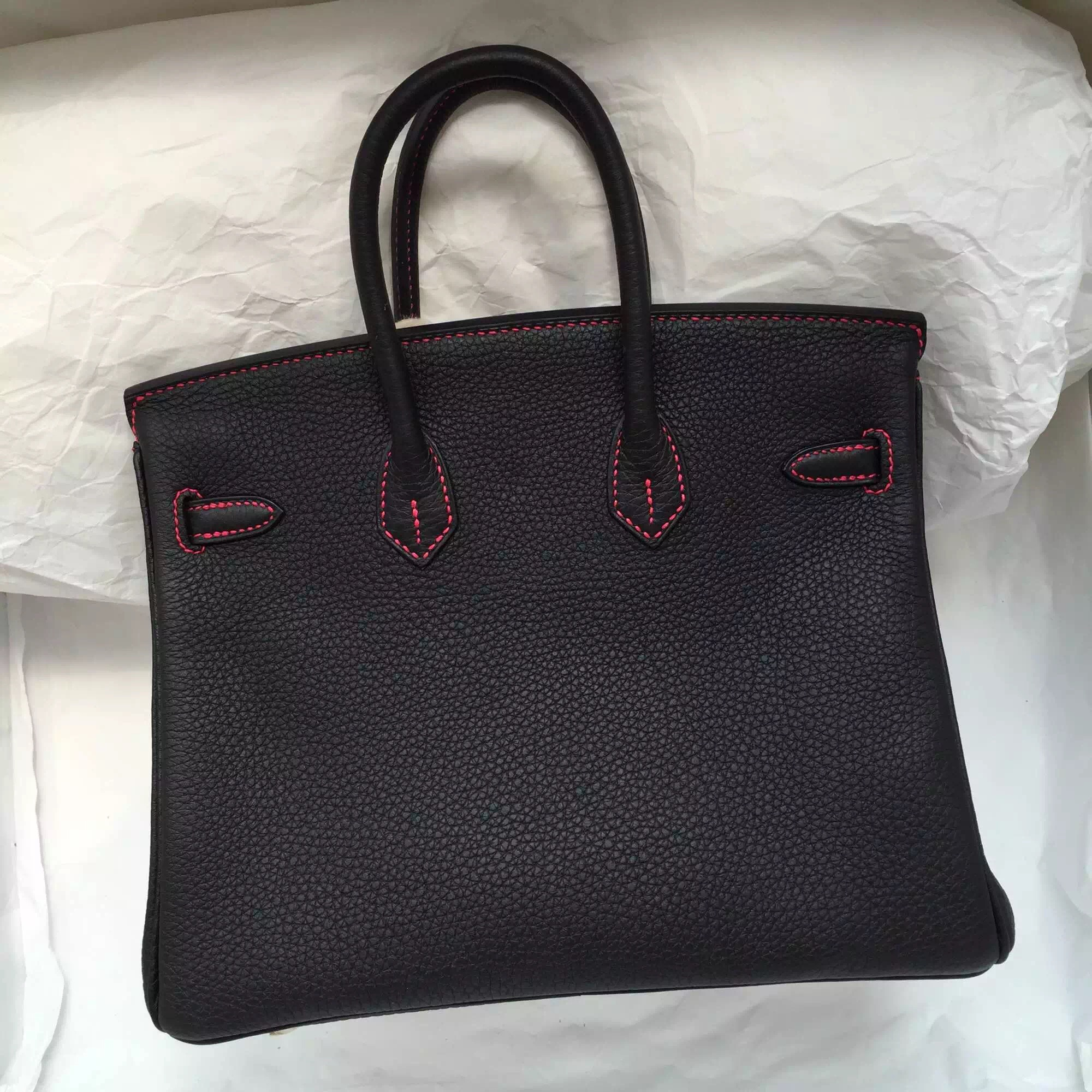 Cheap Hermes Birkin Bag 25CM in 89 Black/E5 Candy Pink Togo Leather With Red Stitching Line