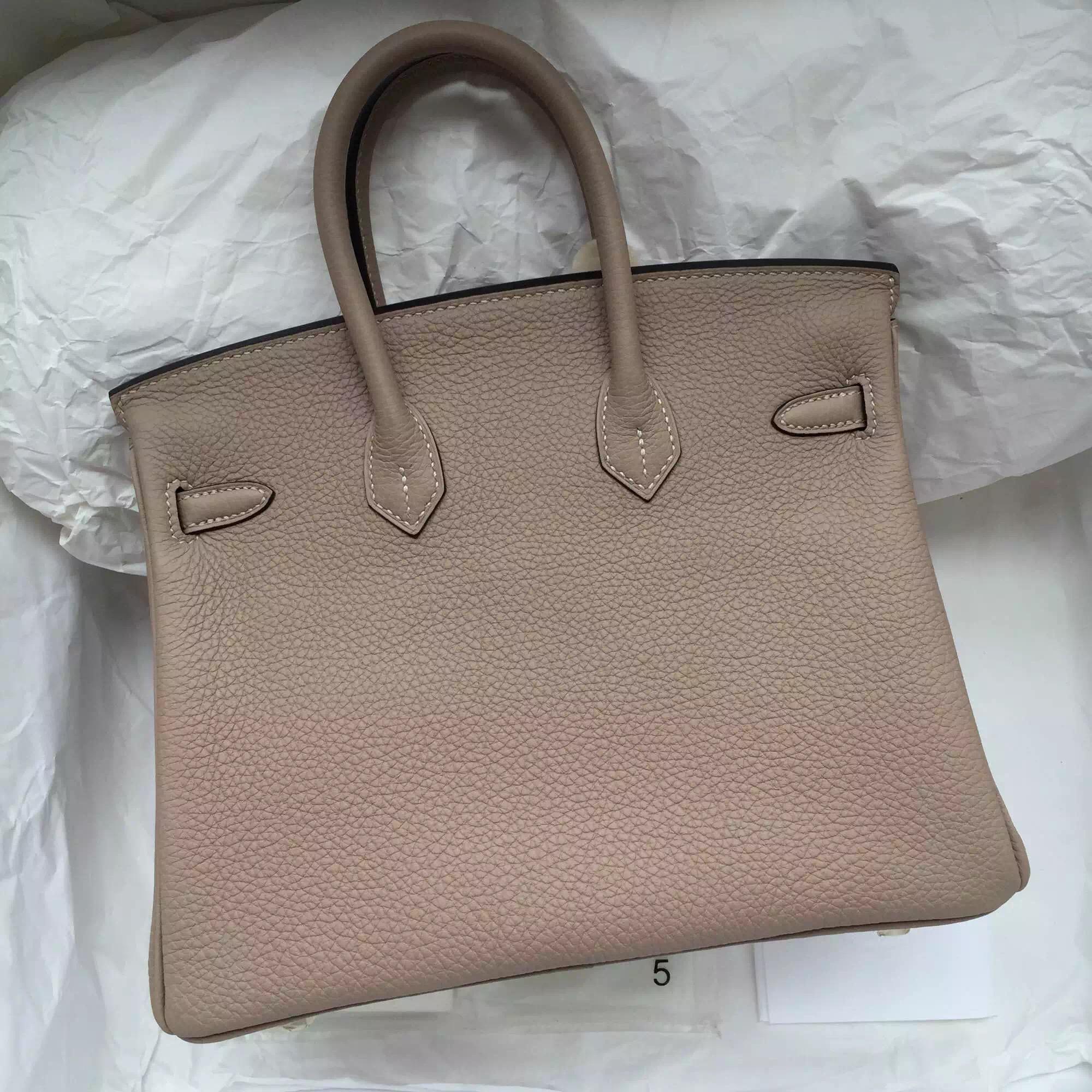 Gris Tourterelle/2R Pink Peony inner Togo Leather Hermes Birkin 25CM Silver Hardware