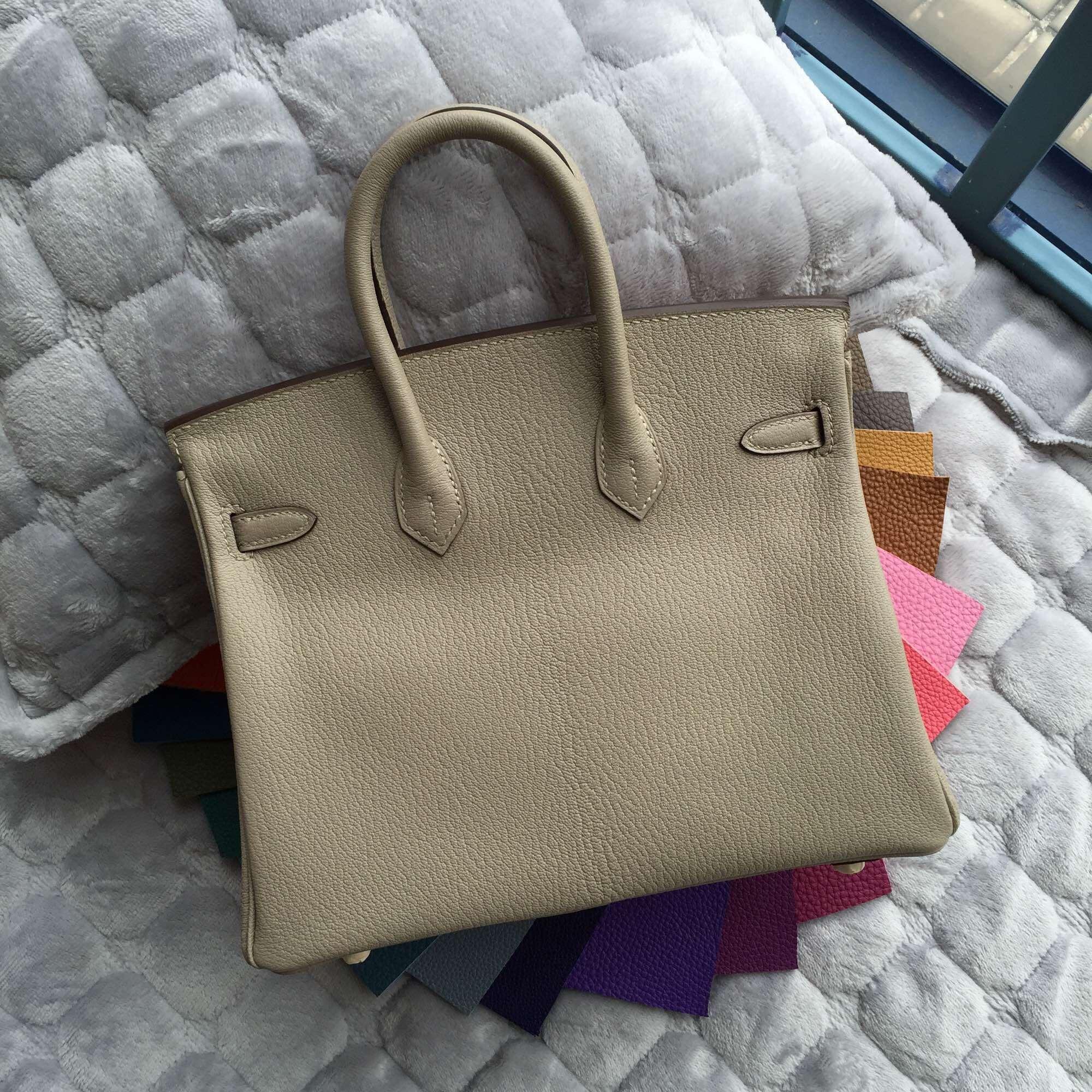 Hermes Birkin 25CM in Gris Tourterelle Chevre Leather Tote Bag Gold Hardware