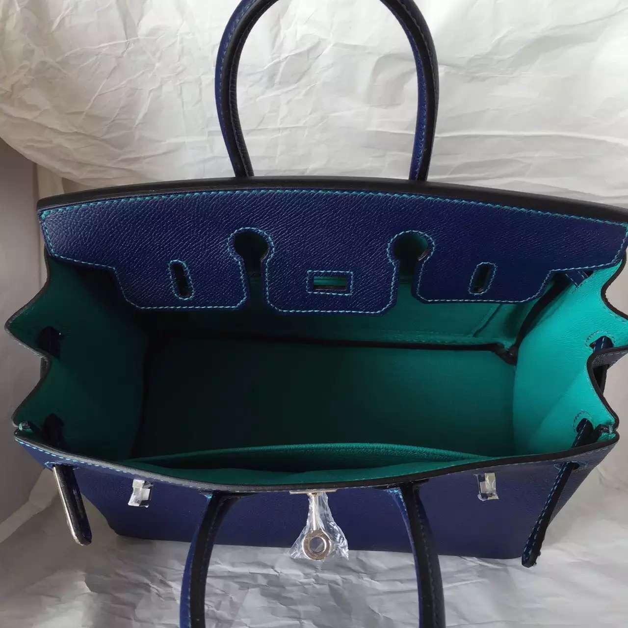 Wholesale Hermes Epsom Calfskin Leather Birkin Bag 25CM in 7K Blue Saphir/7F Lagon Color