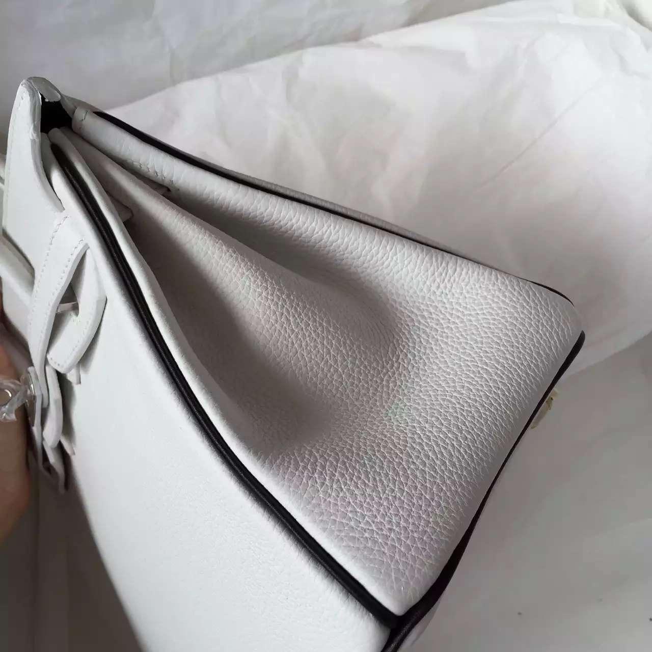 Luxury Hermes Birkin Bag White & Black Two-tone Color Togo Leather Women's Tote Bag 25CM