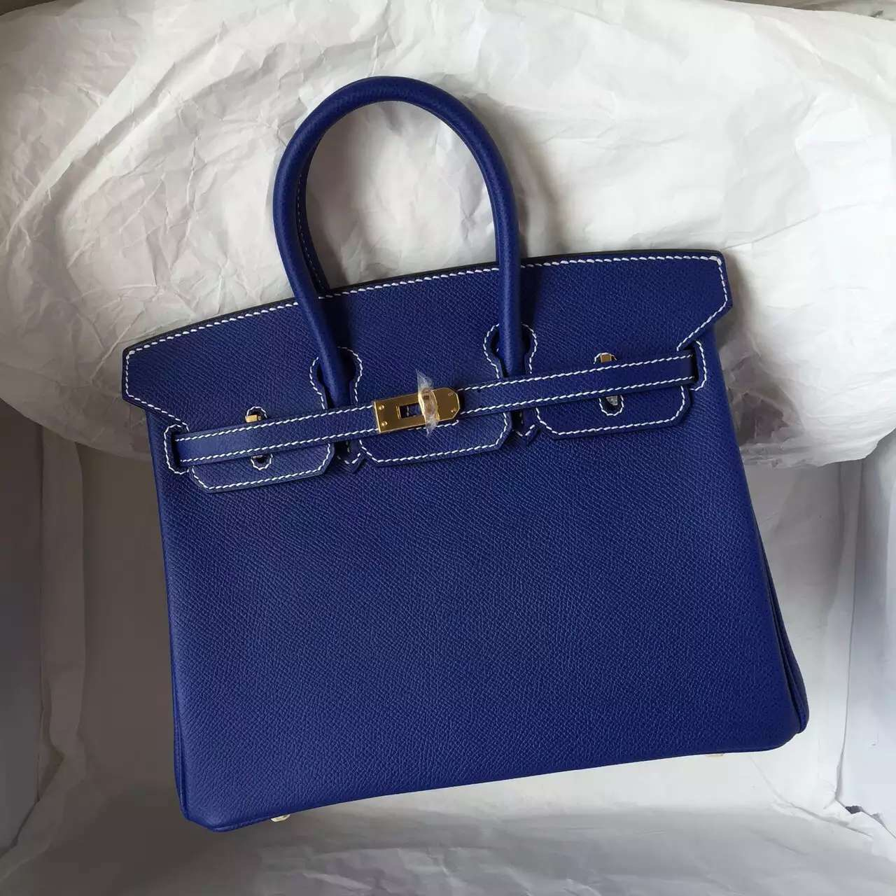 Fashion Hermes Birkin 25CM 7T Blue Electric Epsom Leather with White Stitching Line