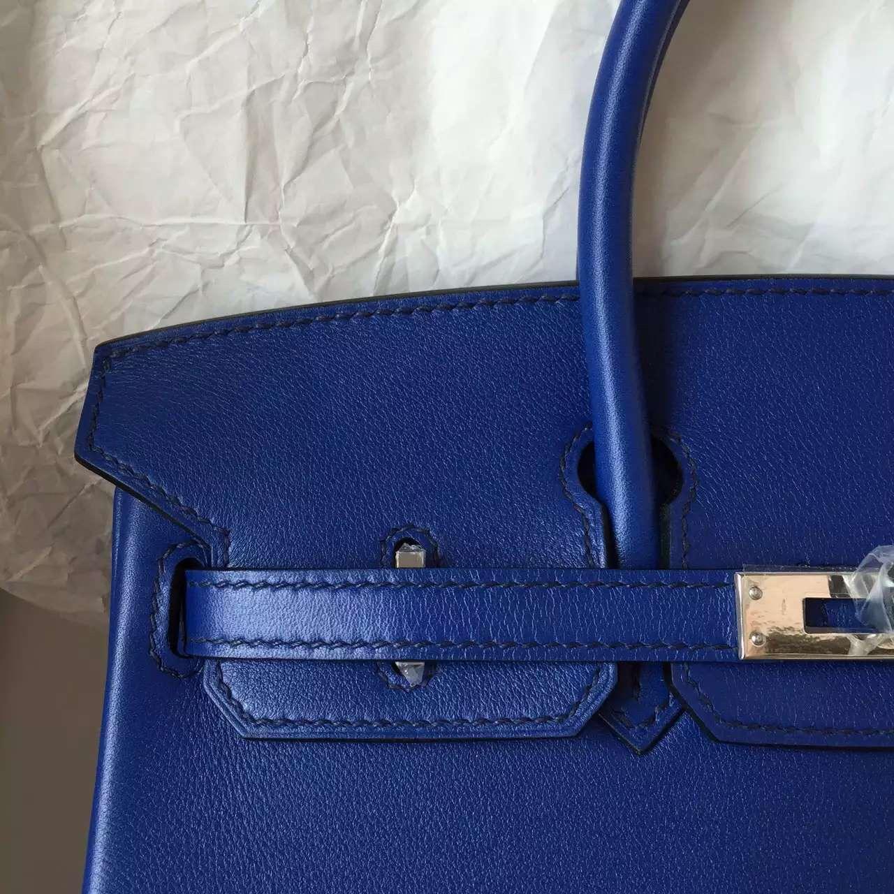 Hermes 7T Blue Electric Swift Leather Birkin Bag 25CM Elegant Women's Tote Bag